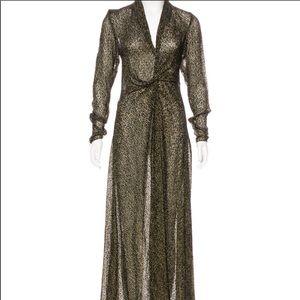 Lanvin Flocked velvet evening dress